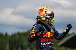Max Verstappen, Red Bull Racing, 1st position, celebrates on arrival in Parc Ferme