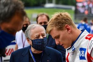 Jean Todt, President FIA, with Mick Schumacher, Haas F1, on the grid