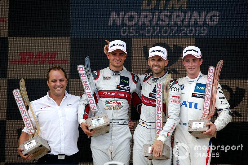 Podium: Race winner René Rast, Audi Sport Team Rosberg, second place Nico Müller, Audi Sport Team Abt Sportsline, third place Joel Eriksson, BMW Team RBM