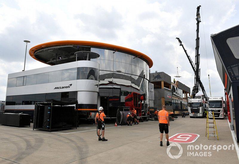 Mclaren and Toro Rosso set up their hospitality centre