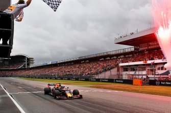 Race winner Max Verstappen, Red Bull Racing RB15 crosses the finish line