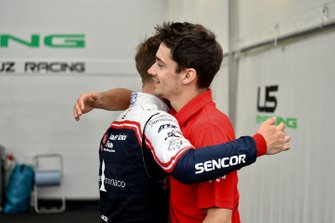Sauber Junior Team F4 racer Arthur Leclerc with Charles Leclerc, Ferrari