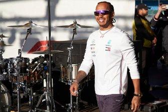 Lewis Hamilton, Mercedes AMG F1, arrives on stage