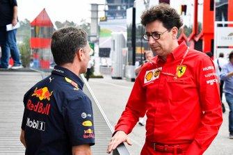 Christian Horner, Team Principal, Red Bull Racing and Mattia Binotto, Team Principal Ferrari