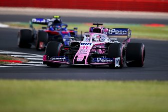 Sergio Perez, Racing Point RP19, leads Alexander Albon, Toro Rosso STR14