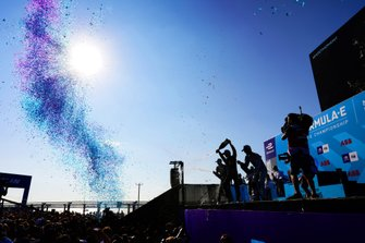 Lucas Di Grassi, Audi Sport ABT Schaeffler, Audi e-tron FE05, Jean-Eric Vergne, DS TECHEETAH, DS E-Tense FE19, Sébastien Buemi, Nissan e.Dams, Nissan IMO1, celebrate on the podium with champagne