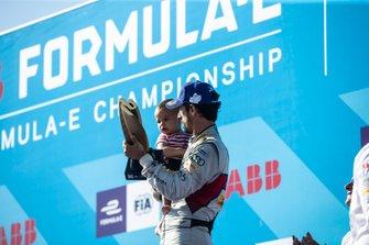 Lucas Di Grassi, Audi Sport ABT Schaeffler, 3rd position in the championship, with son Leonardo on the podium