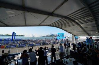 Crowds watch the podium ceremony