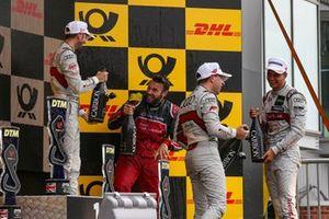 Podium: Race winner René Rast, Audi Sport Team Rosberg, second place Nico Müller, Audi Sport Team Abt Sportsline, third place Robin Frijns, Audi Sport Team Abt Sportsline