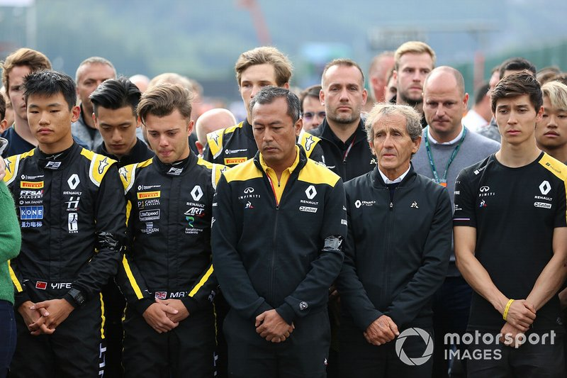 Mia Sharizman, Renault Sport Academy Director, Alain Prost, Renault F1 Team, with Jack Aitken, Campos Racing, Max Fewtrell, ART Grand Prix, Ye Yifei, Hitech Grand Prix