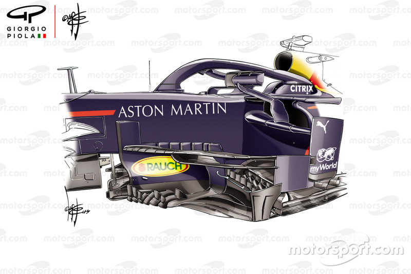 Red Bull RB15 new bargeboard, Russian GP