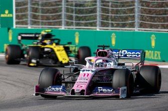 Sergio Perez, Racing Point RP19, leads Nico Hulkenberg, Renault F1 Team R.S. 19