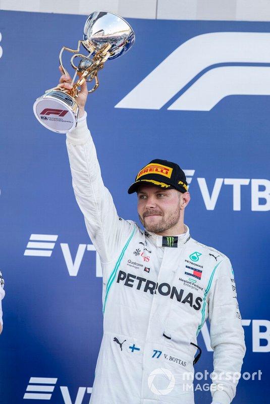second place Valtteri Bottas, Mercedes AMG W10 §celebrates on the podium