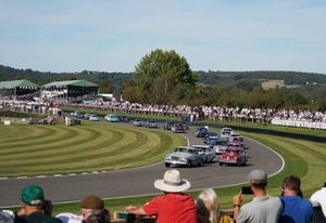 Karl Wendlinger, Studebaker Silver Hawk, Emanuele Pirro, Alfa Romeo Giulietta Ti, and Romain Dumas, Ford Thunderbird, lead the field at the re-start of the St. Mary's Trophy Part 1