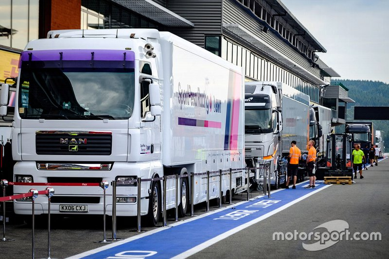 Racing Point truck in the pitlane