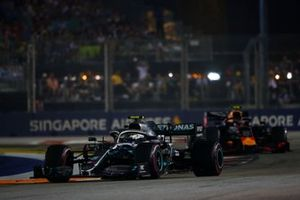 Valtteri Bottas, Mercedes AMG W10, leads Alexander Albon, Red Bull Racing RB15