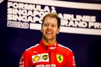 Race winner Sebastian Vettel, Ferrari on the podium
