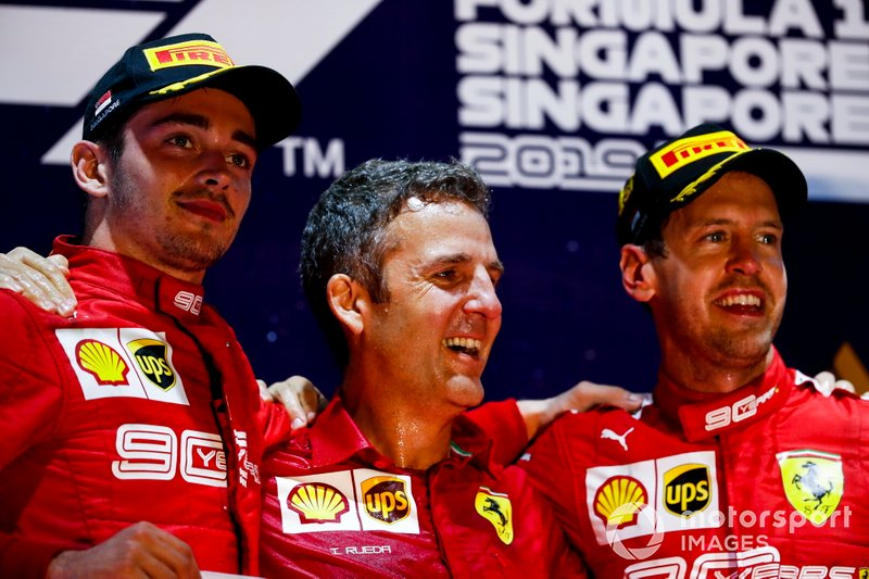 Charles Leclerc, Ferrari and Race winner Sebastian Vettel, Ferrari celebrate on the podium