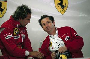 Gerhard Berger, Ferrari and Jean Todt in the Ferrari garage