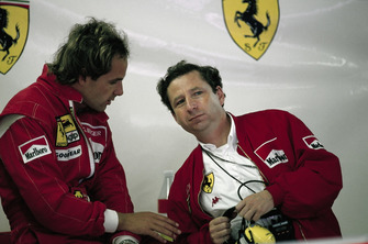 Gerhard Berger, Ferrari and Jean Todt in the Ferrari garage