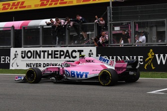 Esteban Ocon, Racing Point Force India VJM11 crosses the line