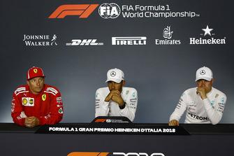 Press conference: race winner Lewis Hamilton, Mercedes AMG F1, second place Kimi Raikkonen, third place Valtteri Bottas, Mercedes AMG F1