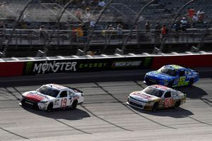 Brandon Jones, Joe Gibbs Racing, Toyota Camry Hope for the Warriors, Jeremy Clements, Jeremy Clements Racing, Chevrolet Camaro RepairableVehicles.com, and Stephen Leicht, J.P. Motorsports, Toyota Camry Prevagen