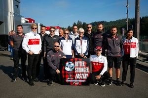 A get well message for IndyCar driver Robert Wickens, Peter Crolla, Haas, Marcus Ericsson, Sauber, Emmanel Esnault of McLaren, Frederic Vasseur, Team Principal, Sauber, Anne Bradshaw, and Charles Leclerc, Sauber, are among the well-wishers