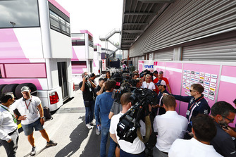 Sergio Perez, Force India, talks to the media