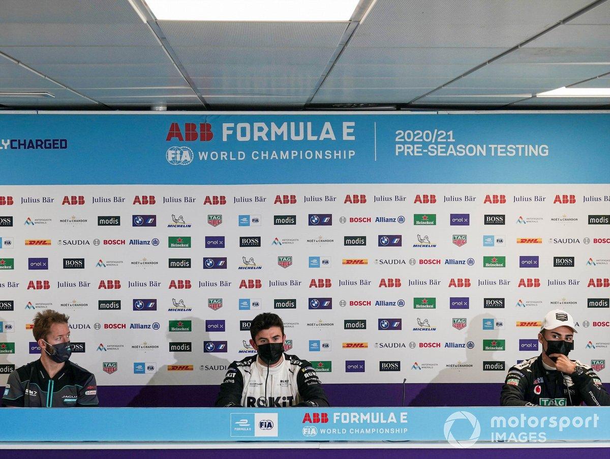 Sam Bird, Panasonic Jaguar Racing, Norman Nato, Venturi Racing, Pascal Wehrlein, Tag Heuer Porsche, en la conferencia de prensa