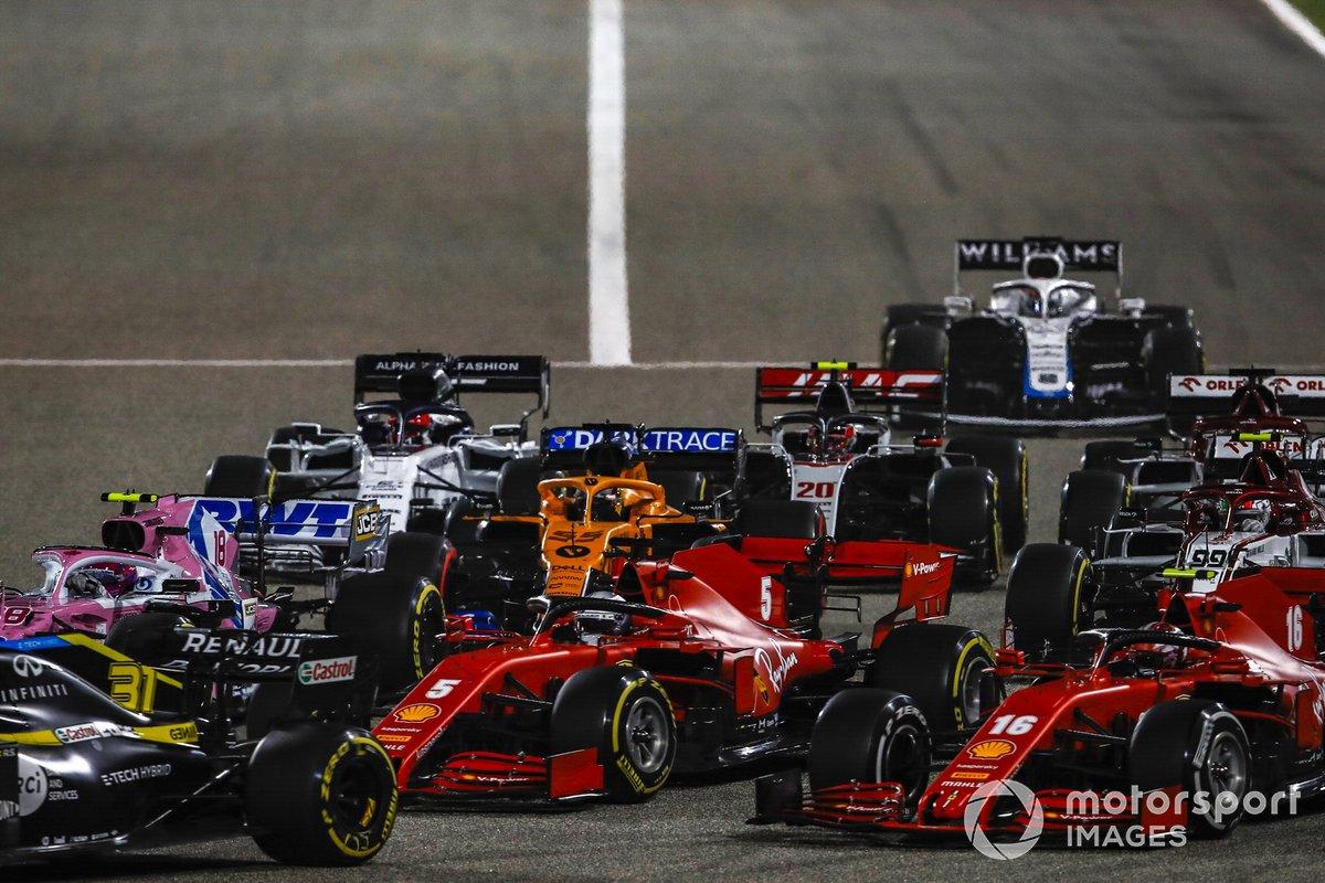 Arrancada Esteban Ocon, Renault F1 Team R.S.20, Lance Stroll, Racing Point RP20, Sebastian Vettel, Ferrari SF1000, Charles Leclerc, Ferrari SF1000, Kevin Magnussen, Haas VF-20