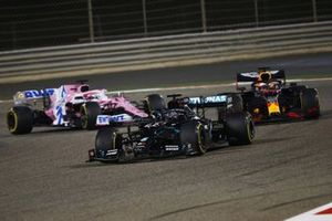Lewis Hamilton, Mercedes F1 W11, Max Verstappen, Red Bull Racing RB16, and Sergio Perez, Racing Point RP20