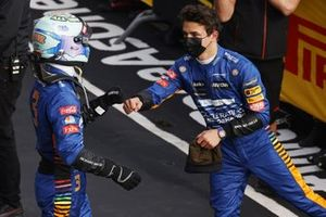Daniel Ricciardo, McLaren, and Lando Norris, McLaren, 3rd position, congratulate each other in Parc Ferme