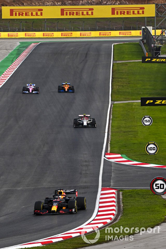 Max Verstappen, Red Bull Racing RB16, Antonio Giovinazzi, Alfa Romeo Racing C39, Lance Stroll, Racing Point RP20, and Lando Norris, McLaren MCL35