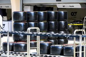 Pirelli tyres in the pit lane