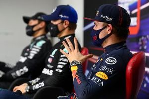 Max Verstappen, Red Bull Racing, Pole man Valtteri Bottas, Mercedes-AMG F1, and George Russell, Mercedes-AMG F1, in the Press Conference