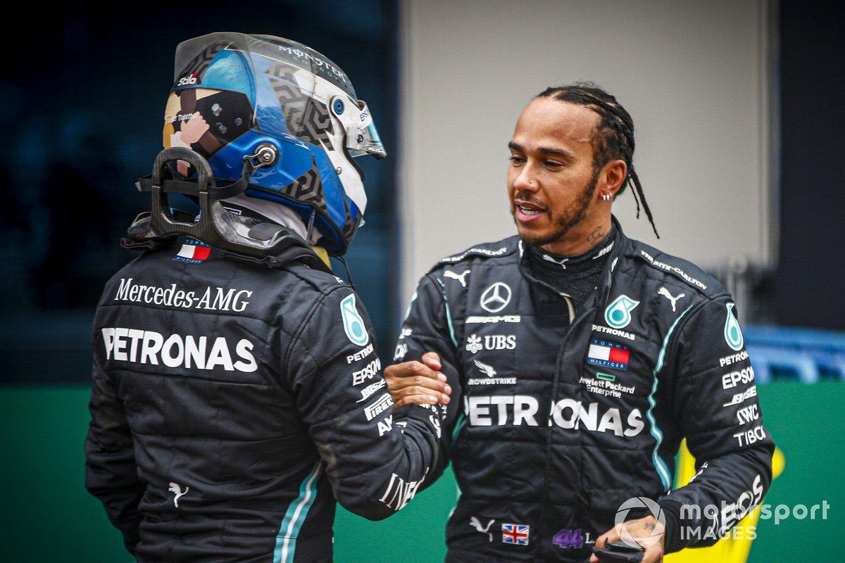 Valtteri Bottas, Mercedes-AMG F1, congratulates Lewis Hamilton, Mercedes-AMG F1, 1st position, on securing his seventh world drivers championship title
