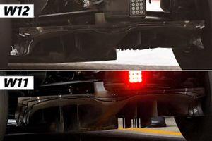 Comparaison entre le fond plat de la Mercedes W12 et celui de la W11