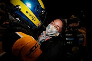 #5: Mustang Sampling / JDC-Miller MotorSports Cadillac DPi, DPi: Sebastien Bourdais, Claire Bourdais, Victory Lane, podium