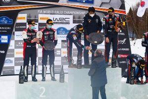 Podium: Winners Ott Tänak, Martin Järveoja, Hyundai Motorsport Hyundai i20 Coupe WRC, second place Kalle Rovanperä, Jonne Halttunen, Toyota Gazoo Racing WRT Toyota Yaris WRC with Jean Todt, FIA President