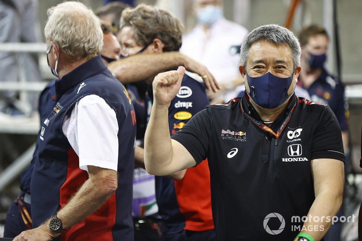 Masashi Yamamoto, Director General de Honda Motorsport, celebra una victoria