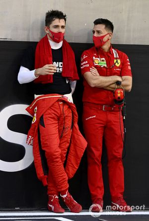 Charles Leclerc, Ferrari, on the grid with an engineer