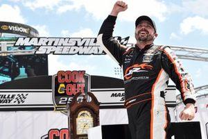 Josh Berry, JR Motorsports, Chevrolet Camaro Chevrolet Accessories, celebrates after winning.