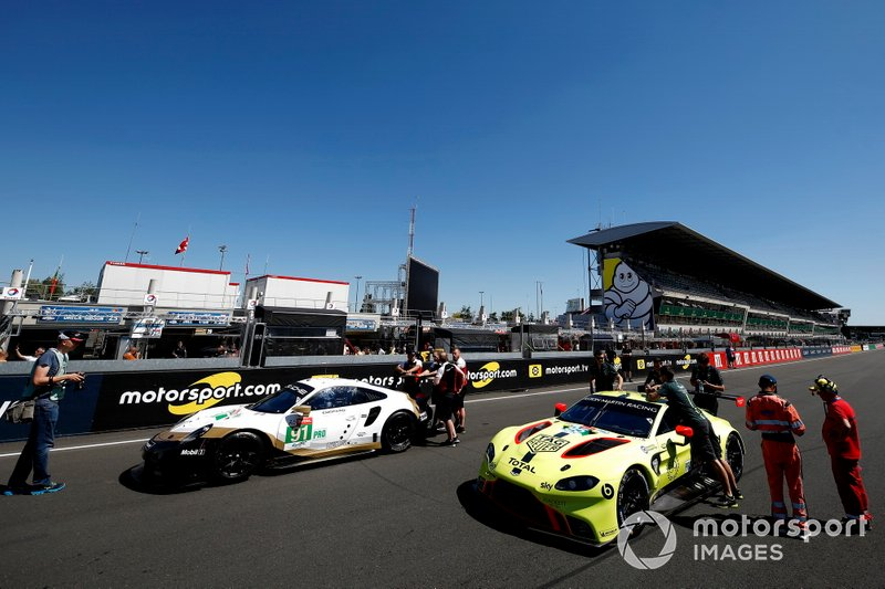 #91 Porsche GT Team Porsche 911 RSR: Richard Lietz, Gianmaria Bruni, Frédéric Makowiecki, #95 Aston Martin Racing Aston Martin Vantage AMR: Marco Sorensen, Nicki Thiim, Darren Turner, Russ Gunn