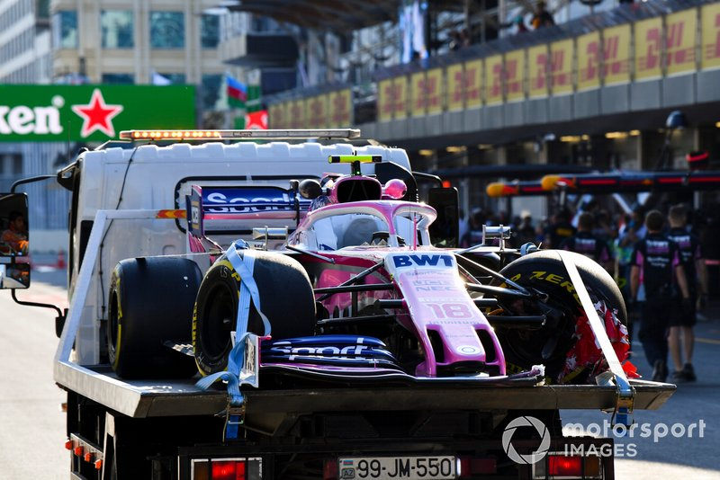 Stroll shunts his Racing Point in FP2