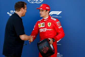 Pole Sitter Charles Leclerc, Ferrari receives the Pirelli Pole Position Award from Lukas Lauda