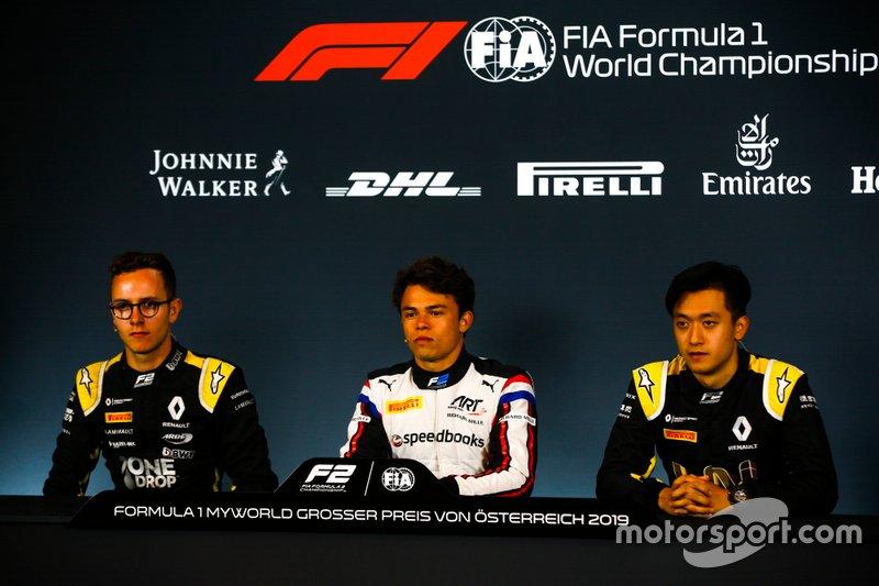 Anthoine Hubert, Arden, Nyck De Vries, ART Grand Prix, and Guanyu Zhou, UNI Virtuosi Racing Racing