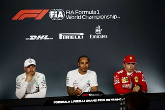Valtteri Bottas, Mercedes AMG F1, Lewis Hamilton, Mercedes AMG F1, and Charles Leclerc, Ferrari, in the post Qualifying Press Conference