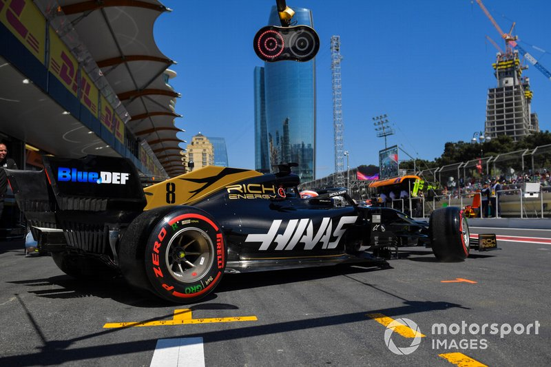 Romain Grosjean, Haas F1 Team VF-19, leaves the garage