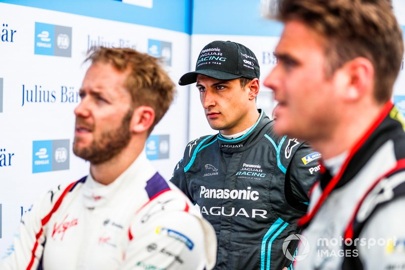 Mitch Evans, Panasonic Jaguar Racing, with Sam Bird, Envision Virgin Racing, Oliver Rowland, Nissan e.Dams